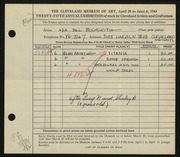Entry card for Beckwith, Ada Bell for the 1943 May Show.