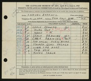 Entry card for Bookatz, Samuel for the 1943 May Show.