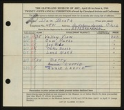 Entry card for Booth, Donald William for the 1943 May Show.