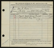 Entry card for Born, Augusta for the 1943 May Show.