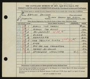 Entry card for Brucker, Edmund for the 1943 May Show.