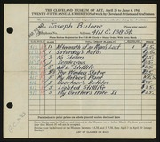 Entry card for Bulone, Joseph  for the 1943 May Show.
