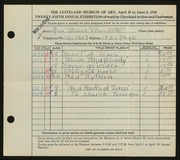 Entry card for Burdette, Ann Blaine for the 1943 May Show.