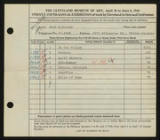 Entry card for Burton, Jack Munson for the 1943 May Show.