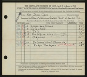 Entry card for Cass, Katherine Dorn for the 1943 May Show.