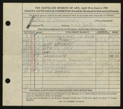Entry card for Chamberlin, Price Albert for the 1943 May Show.