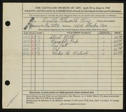 Entry card for Cline, Orville Ellsworth for the 1943 May Show.