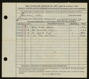 Entry card for Cole, Helen Champney for the 1943 May Show.