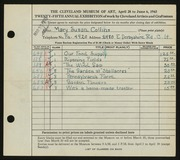 Entry card for Collins, Mary Susan for the 1943 May Show.