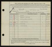 Entry card for Cook, Ruth E. for the 1943 May Show.
