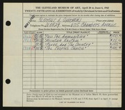 Entry card for Cykowski, Clement Allen for the 1943 May Show.