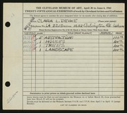 Entry card for Deike, Clara L. for the 1943 May Show.