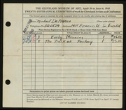 Entry card for De Marco, Michael for the 1943 May Show.
