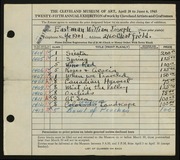 Entry card for Eastman, William Joseph for the 1943 May Show.