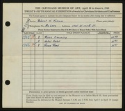 Entry card for Folsom, Robert H. for the 1943 May Show.