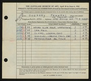 Entry card for Frankel, Godfrey B. for the 1943 May Show.