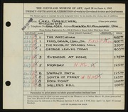 Entry card for Gaertner, Carl Frederick for the 1943 May Show.