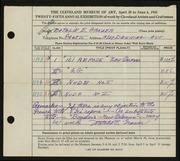 Entry card for Grauer, Natalie Eynon for the 1943 May Show.