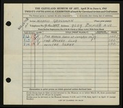 Entry card for Grossman, Morris for the 1943 May Show.