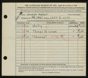 Entry card for Haber, Joseph for the 1943 May Show.