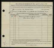 Entry card for Hardiman, Laura M. for the 1943 May Show.