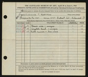 Entry card for Hartman, Eleanor P. for the 1943 May Show.