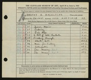 Entry card for Hazeltine, Dorothy R. for the 1943 May Show.