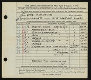 Entry card for Helmuth, Louis W., Sr. for the 1943 May Show.