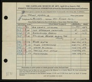 Entry card for Hewit, Mabel A. for the 1943 May Show.