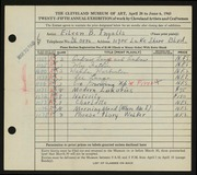 Entry card for Ingalls, Eileen B. for the 1943 May Show.