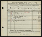Entry card for Ives, Kenneth B. for the 1943 May Show.