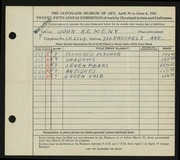 Entry card for Kemeny, John for the 1943 May Show.