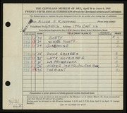 Entry card for Kingman, Alice E. for the 1943 May Show.