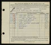 Entry card for Lakofsky, Charles  for the 1943 May Show.