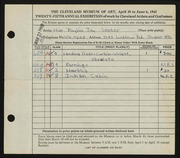 Entry card for Sloane, Phyllis for the 1943 May Show.