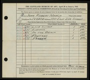 Entry card for March, John Robert for the 1943 May Show.