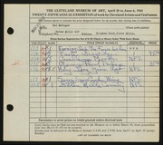 Entry card for Metzger, Hal W. for the 1943 May Show.