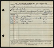 Entry card for Miller, Mary G. for the 1943 May Show.