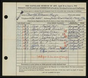 Entry card for Mosgo, Charles Francis for the 1943 May Show.