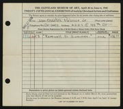 Entry card for Palmer, William Maxton, Jr. for the 1943 May Show.