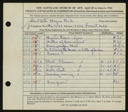 Entry card for Peck, Edith Hogen for the 1943 May Show.