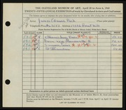 Entry card for Peck, James Edward for the 1943 May Show.