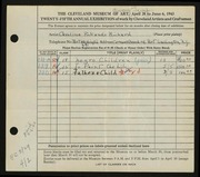 Entry card for Cass, Caroline Pickands for the 1943 May Show.