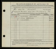 Entry card for Schulman, Anita for the 1943 May Show.