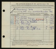 Entry card for Rosenberg, Yetta for the 1943 May Show.