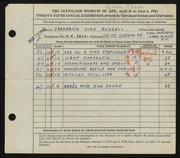 Entry card for Russell, Frederick K. for the 1943 May Show.