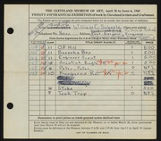 Entry card for Scheele, William E. for the 1943 May Show.