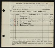 Entry card for Schoener, Jason for the 1943 May Show.