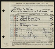 Entry card for Shaw, Elsa Vick for the 1943 May Show.