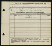 Entry card for Sherman, Dorothy Warner for the 1943 May Show.